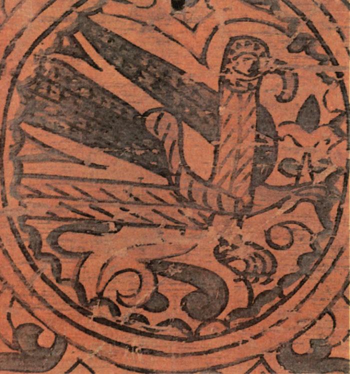 Стратим-птица — владычица океана. Роспись коробьи. Район Великого Устюга. XVII век