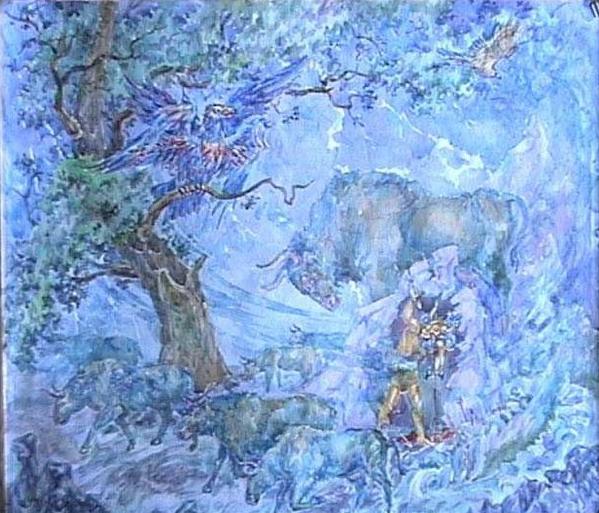 """""""Похищение небесных коров"""". (А. Н. Фанталов) Картина демонстрирует знаменитый индоевропейский миф. Велес похитил небесных коров и скрыл их в пещере. Перун же освободил их а самого Велеса поразил молнией. В балтской мифологии этой паре соответствуют Велс и Перкунас, индийская мифология знает Валу и Индру и даже в мифологии древних греков присутствует подобный сюжет (Hermes and Apollo)."""