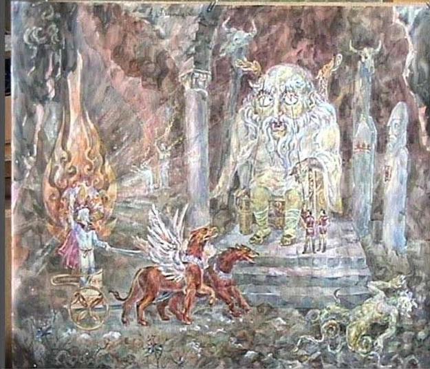 """""""Даждьбог в Царстве Подземном"""""""". (А. Фанталов, 1996). Даждьбог спускается в подземное царство и побеждает Вия - судью мертвых. Светлый бог показан здесь на колеснице, запряженной грифонами (подобно Аполлону греческой мифологии). Веки Вия поднимали вилами его слуги аналогичная ситуация наблюдалась и в кельтской мифологии (Балор ирландцев и Исбаддаден валлийцев)."""