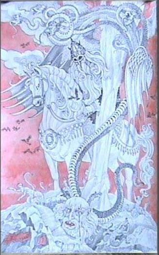 """""""Темные силы земли"""". (А. Н. Фанталов, 1997) Картина показывает разверзшуюся земную твердь и появление хтонических чудовищ, готовых принять участие в финальной битве с силами света. Мы видим исполина Святогора (правильнее, быть может звучало - """"Вострогор"""", """"Вострогот""""); Черного змея; Вия; змееногих гигантов - горынь, усынь, дубынь..."""