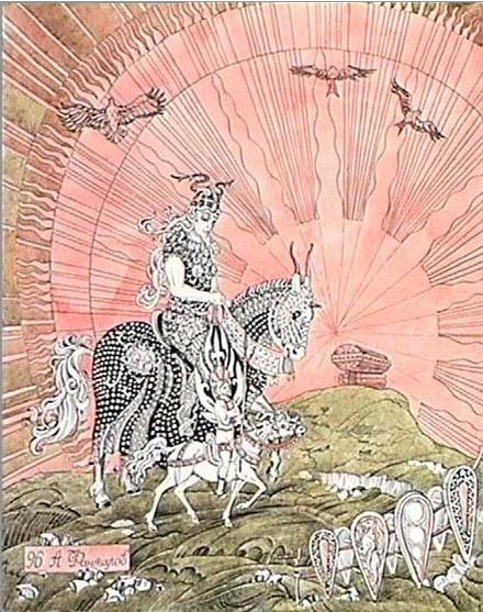 Даждьбог и Златыгорка. (А.Н. Фанталов, акварель). Картина представляет фантазию о Даждьбоге и его жене, великанше Златыгорке. Похожий сюжет имеется в скандинавской мифологии (бог Ньерд и великанша Скади).