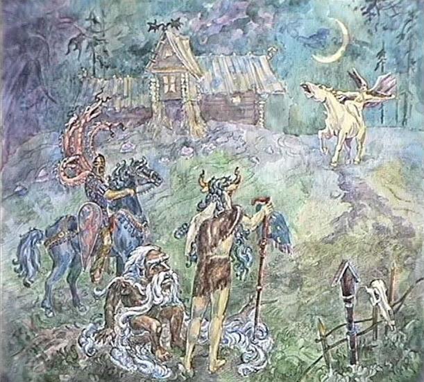(А.Н. Фанталов, акварель). Эта картина показывает славянских хтонических персонажей: Велеса, Усыню (мужик, сам с перст - усы на семь верст), Горыню (всадник, оплетенный змеями) и Бабу Ягу, подобную здесь валькирии скандинавской мифологии. Велес есть славянский Бог Земных Сил, остальные персонажи - герои славянских сказок.