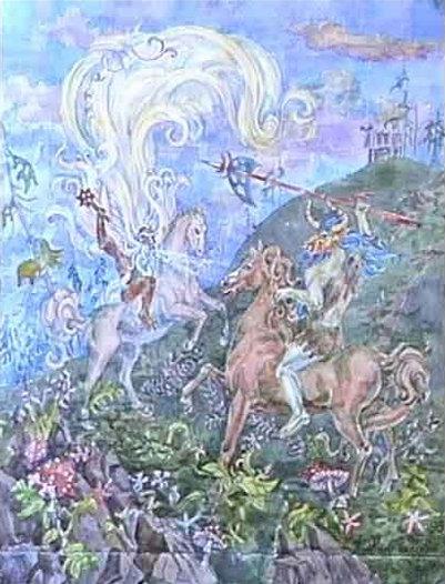 Велес и Усыня. (А. Н. Фанталов, акварель). Картина показывает битву между славянскими хтоническими персонажами.
