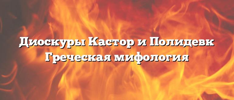 Диоскуры Кастор и Полидевк Греческая мифология